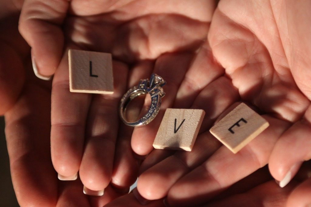 Image Displaying a Wedding Ring With the Words Love.